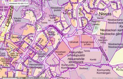 Kaupungin maanomistus Hakunilassa (lila ja violetti)